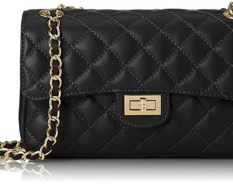 Designer Inspired Pure Italian Leather Quilted Handbag in Black with Gold Interwoven Chain