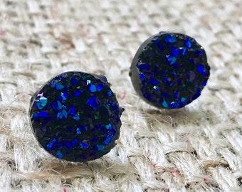 Raw Blue Druzy Studs, Raw Druzy Earrings, Raw Druzy Studs, Metallic Blue Studs, Metallic Druzy Studs, Druzy Studs, Faux Druzy Studs
