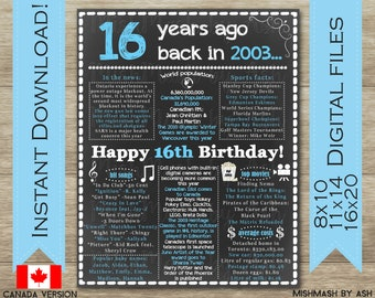 16th Birthday Gift Boy For Him Sign 2003 Back In Decor