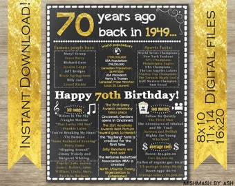 70th Birthday For Her Sign Back In 1949 Happy Decorations Gift