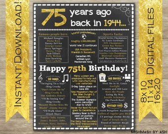 75th Birthday For Her Him 1944 Sign Facts Party Poster 75 Years Ago