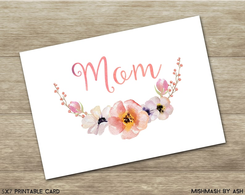 Mom Birthday Card Printable Gift Mother Mothers Day Decor Moms
