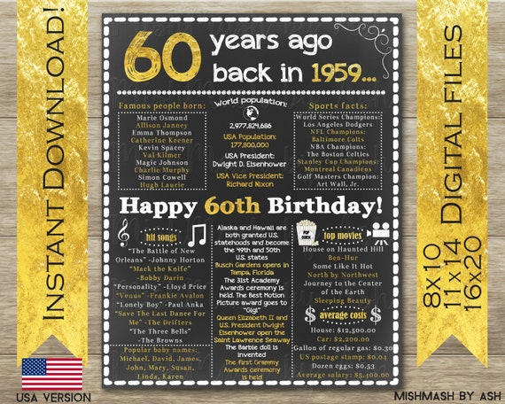 60th Birthday Gift 60th Birthday Sign Back In 1959 Happy 60th Birthday 60th Birthday Poster 1959 Birthday Party 60 Gold