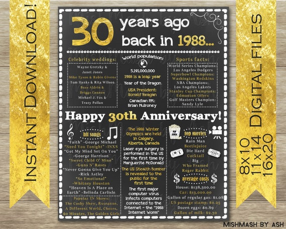 30th Wedding Anniversary Gifts For Him: 30th Anniversary Gift 30th Anniversary Sign 30th Anniversary