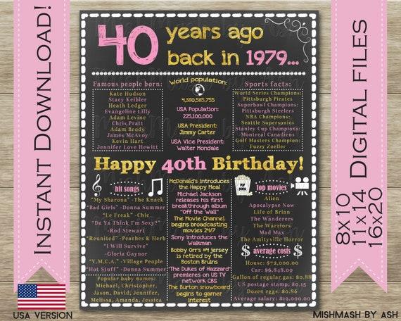 40ste Verjaardag Voor Haar 40ste Verjaardag Cadeau Idee 1979 Etsy