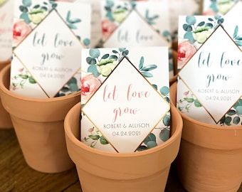 Let Love Grow- Custom Seed Wedding Favors Personalized SEALED with SEEDS INCLUDED, Wedding Favors, Elegant Wedding Favors, Florals, Favors
