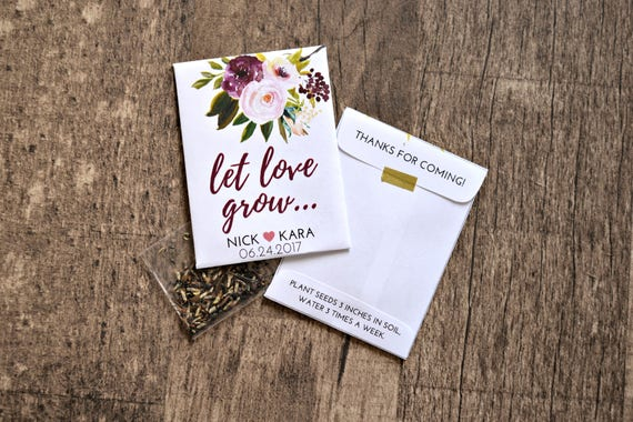 Burgundy Plum Custom Seed Wedding Favors 50 Count With Etsy