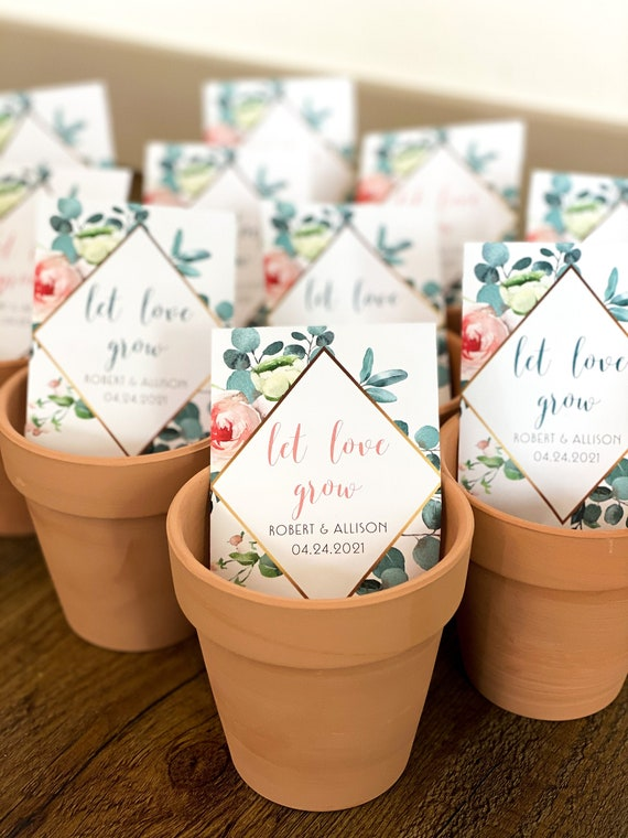 pink flowers with or without seeds set of 15 Eucalyptus pink rose Wedding Let love grow seed packet favors sp20040 Bridal shower favor