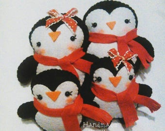 Family of Penguins Christmas decoration Christmas Time Xmas tree Handmade KriTiLo
