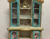 Dolls house OOAK hand painted shabby french look display cabinet in ivory, turquiose and gold with old vintage antique looking finish. 1 12