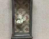 Dolls house OOAK hand painted shabby french look tall display cabinet in grey with old vintage antique looking finish. 1 12 scale
