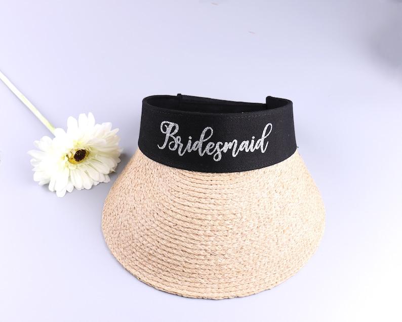 Baseball Cap Sports Visor Bridesmaid Summer Straw Sun Hats Bride Bachelorette Gift Wedding Favors Personalized Natural Raffia Ladies Visor