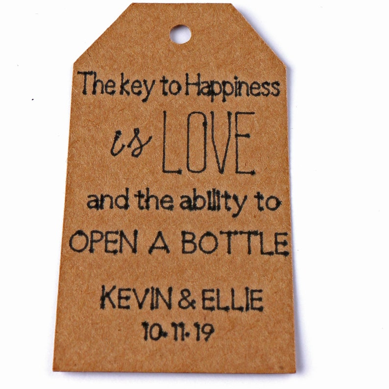 c9b3e08363cb 40PCS Personalized Tags Custom Made For Wedding Favors Gift Tag Decoration  Key to Happiness is Love Name Tags Seating Cards