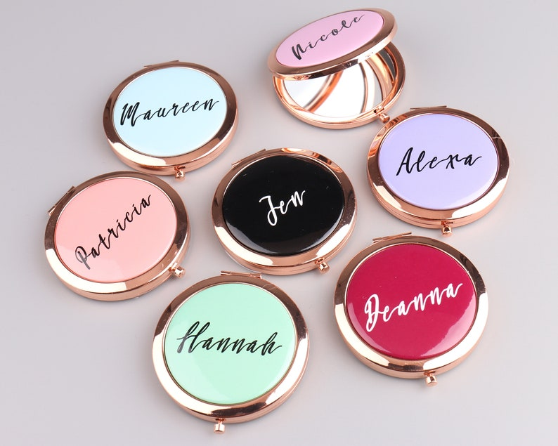 Personalized Compact Mirror Bridesmaid Gift Logo Any Image image 5