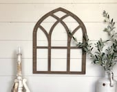 Faux Window Frame, Arched Wooden Window Frame, Faux Farmhouse Window