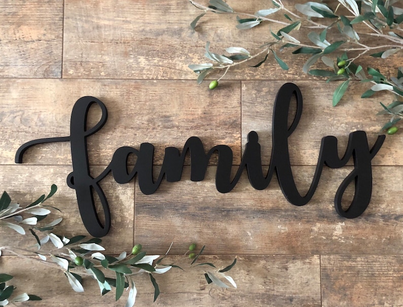 Family Cutout Family Sign Wooden Family Sign Family Wood Word Cutout