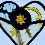 Decorative heart made from Victorian and Edwardian stained glass