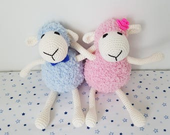 Crochet Amigurumi Sheep, Handmade Soft Plush Sheep Toy, Gift for girl/boy, Gift for twins, MADE TO ORDER by Baby Stardust Boutique