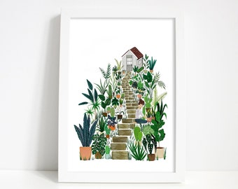 Garden and Shed Scenery Gouache Painting Print A3/A4/A5 Gardening Plants, recycled + eco friendly manufacturing, plant illustration,wall art