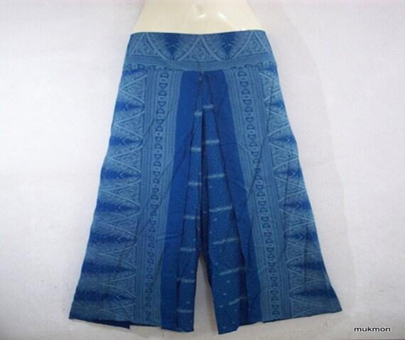 Unique belle décontracté lâche Long pantalon pantalons pantalons plage été Gipsy bleu, taille L-XL