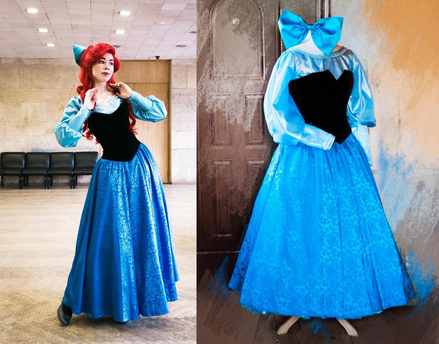 d4b541ebfa0 Ariel blue dress Cosplay Disney Princess Halloween costume for Adult