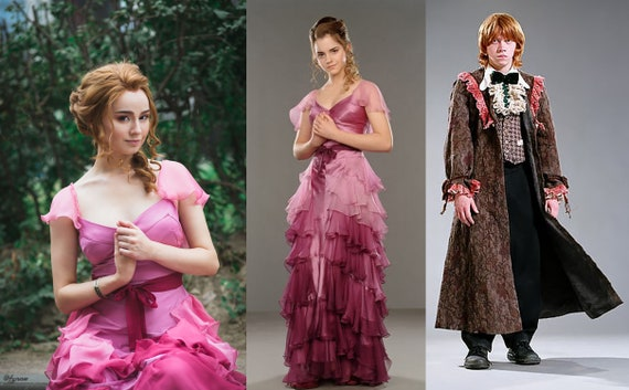 COAT ~ HARRY POTTER RON WEASLEY DOLL YULE BALL LACE PRINT CAPE JACKET ROBE TOP