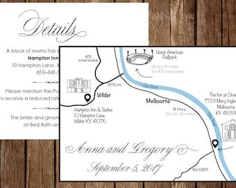 Wedding Map, Custom Design, Personalized Wedding Intinerary, Wedding Invitation, Direction Card, Any Location, Custom Map, S024