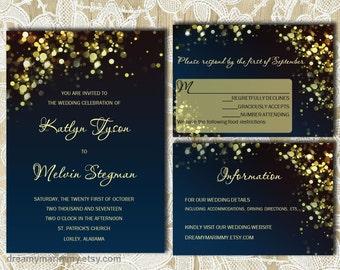 Gold Sparkles Navy Wedding Invitation Set,  DIY Digital Invitation Suite, Printable Wedding Invitation Set, Editable Text, Word doc, S007-2