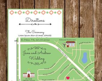 Personalized Wedding Map, Custom Design, Wedding Intinerary, Wedding Invitation, Direction Card, Any Location, Custom Map, S024