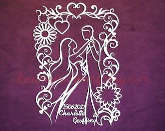 Personalised Wedding Day Papercut Template, Customised, Paper Cutting Template, Gift, SVG cutting file, PDF file PT-064