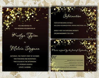 black and gold wedding invitations set invite suite etsy