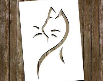 Items similar to Cat Paper Cutting Template, Cat Papercut, Cat Cut ...