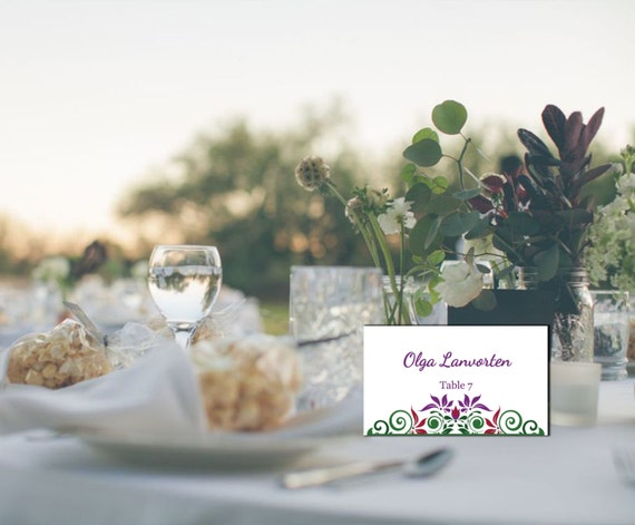 floral wedding wedding table card place cards template etsy