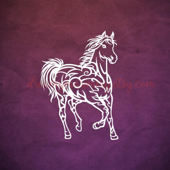 horse vector file horse papercut template svg cutting