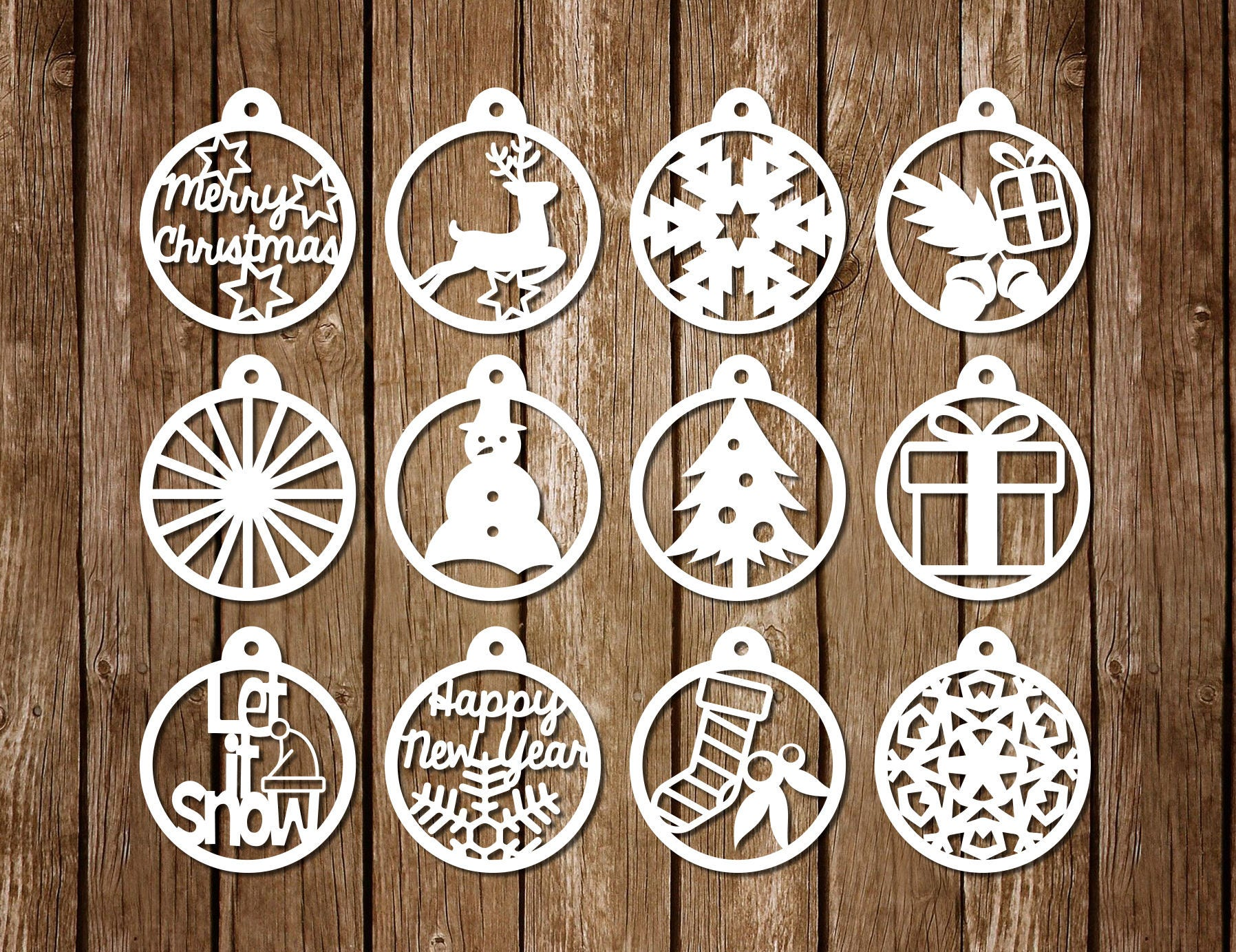 Papercut Template For Christmas Decoration PDF SVG Cutting