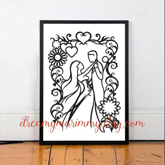 Wedding Anniversary Gift Papercutting Template Paper Etsy