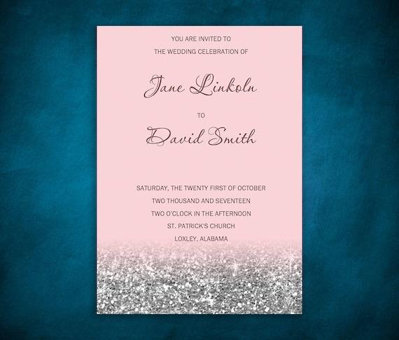 Pink Blush Wedding Invitation Template Sparkles Silver Etsy