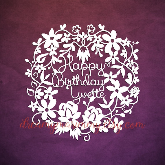 Personalized Birthday Card Template Papercut Paper