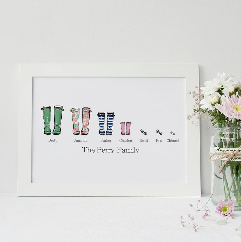 Welly print  Personalised Family Wellies Print image 0