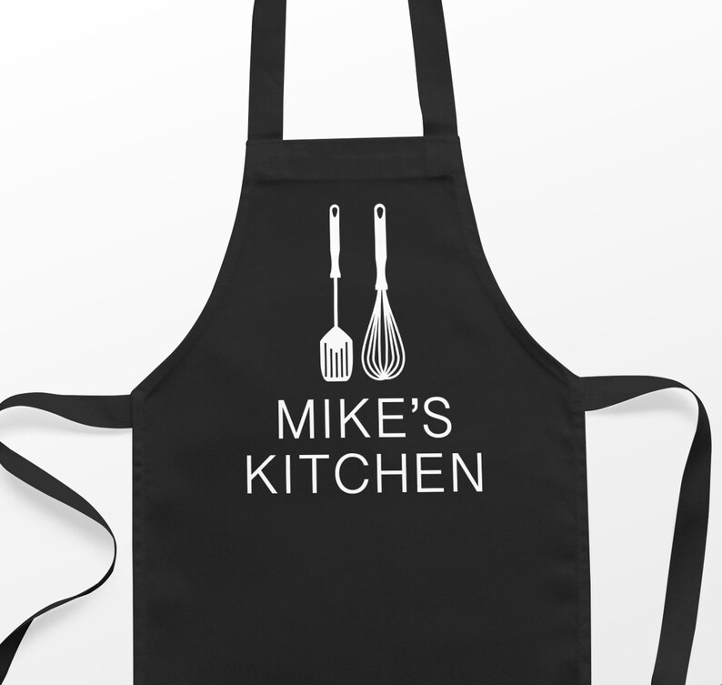 Personalised Mens Apron Adult apron bake off gift woman Black