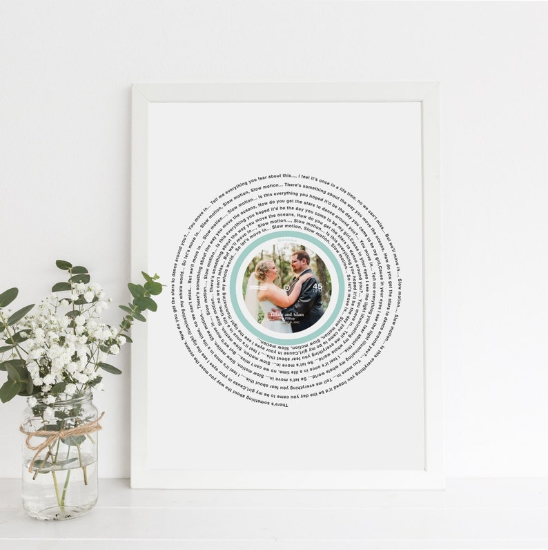Wedding Song Lyrics Print  Song Lyric Wall Art First Wedding image 0