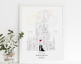 Personalised Disney Wedding Gift - Fairytale Wedding, First Anniversary Gift, Castle Wedding, Paper Anniversary, , Gay Disney gift, Sign