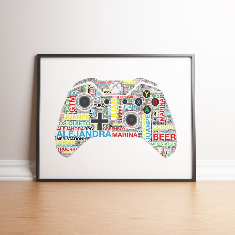 personalised xbox controller print gaming birthday gifts