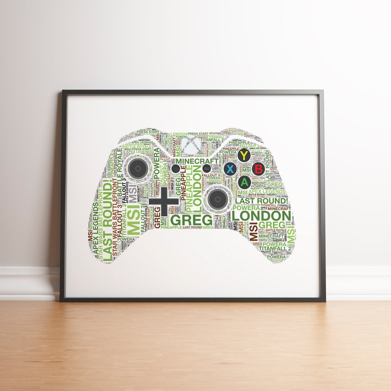 Gaming Print, Xbox Controller, Xbox gift, Gaming Room Decor, Personalised,  Gifts For Him, Xbox One Controller, Gamer Dad, Gaming controller