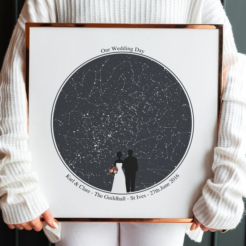 Personalised Star Map Wedding Print Custom Night Sky image 0