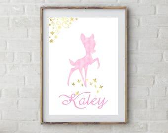 Personalized Bambi Poster, Bambi Party, Bambi Nursery Print , Bambi Custom, Birthday Poster, Bambi Wall Art, DIY Party Printable Party Sign