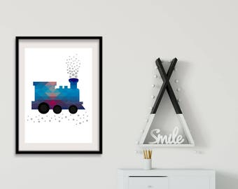 Train Print| Train Printable | Steam Train | Boys Travel Nursery Decor | Boys Transport Prints | Boys Nursery Decor | Boys Bedroom Art Decor