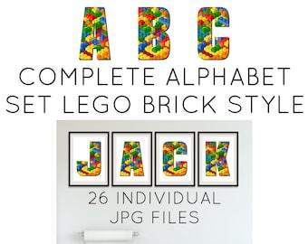 block alphabet art a z instant download alphabet letters alphabet blocks brick digital letters block letters abc nursery letters print