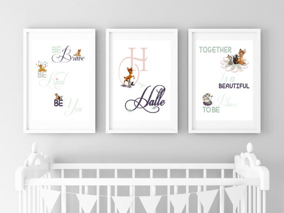 Fabulous Bambi Nursery Personalised Girls Print Set Bambi Disney Prints Girls Nursery Bambi Woodland Prints Animal Prints Pink Mint Nursery Art Ncnpc Chair Design For Home Ncnpcorg