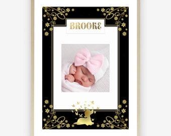 Personalised Nursery Photo Frame Baby Girl-Baby Girl Nursery-Baby Girl Photo Gift-Gold Nursery-Boho Florals-Custom Photo-Floral Print